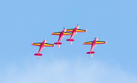 LEEUWARDEN, THE NETHERLANDS - JUNE 10, 2016: Belgium Red Devils at the Luchtmachtdagen Airshow on June 10, 2016 at Leeuwarden Airfield, Friesland, Holland. Editorial