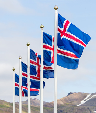 iceland: Iceland flags Stock Photo