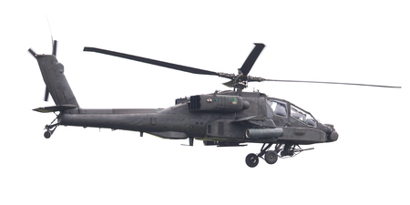 LEEUWARDEN, THE NETHERLANDS - JUN 11, 2016: Boeing AH-64 Apache attack helicopter flying a demo during the Royal Netherlands Air Force Days