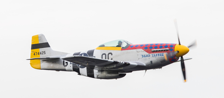 LEEUWARDEN, THE NETHERLANDS - JUNE 10: P51 Mustang displaying at the Dutch Air Force Open House. June 10, 2016 in Leeuwarden, The Netherlands