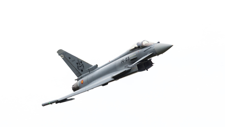 LEEUWARDEN, THE NETHERLANDS - JUNE 10: Spanish Air Force Eurofighter Typhoon flying during the Dutch Air Force Open House. June 10, 2016 in Leeuwarden, The Netherlands Editorial