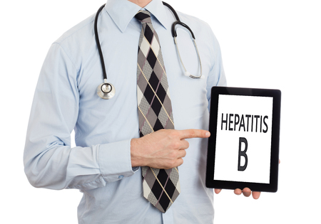 genotype: Doctor, isolated on white background, holding digital tablet - Hepatitis B