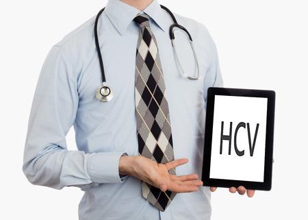 Doctor, isolated on white background, holding digital tablet - HCV