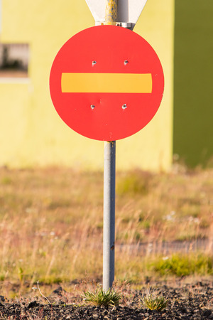 thoroughfare: Old road sign in Iceland - No entry