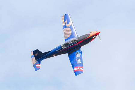 LEEUWARDEN, THE NETHERLANDS - JUNE 10, 2016: Austian PC-7 Pilatus during a demonstration at the Royal Netherlands Air Force Days on june 10, Leeuwarden, The Netherlands