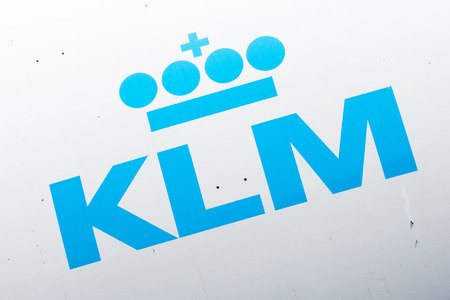 lelystad: LELYSTAD, THE NETHERLANDS - JUNE 9; Logo of the dutch KLM, royal dutch airlines company founded in 1919. Editorial