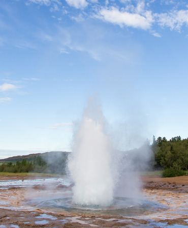 Geyser Strokkur eruption in the Geysir area, Iceland