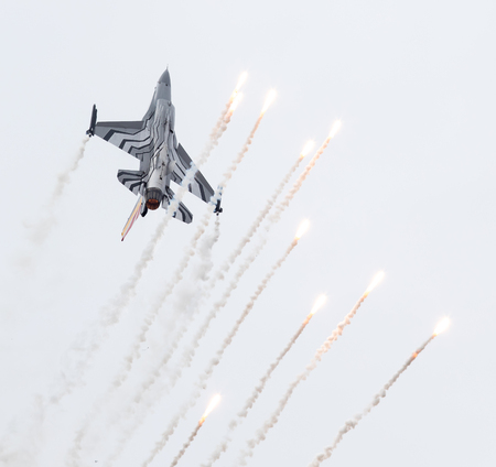 f 16: LEEUWARDEN, THE NETHERLANDS-JUNE 10, 2016: Belgium - Air Force General Dynamics F-16 AM at the Dutch Airshow on June 10, 2016 at Leeuwarden Airfield, The Netherlands.