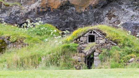Abandoned Icelandic houses in the south of Iceland Stock Photo