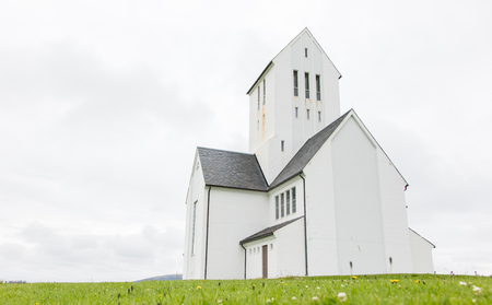 historic sites: SKALHOLT, ICELAND - JULY 25: The modern Skalholt cathedral was completed in 1963, is pictured on July 25, 2016 and is situated on one of Icelands most historic sites.