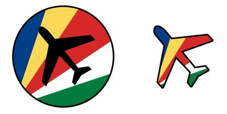 Natie vlag - vliegtuig op een witte - Seychellen Stockfoto