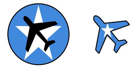 Nation flag - Airplane isolated on white - Somalia Stock Photo