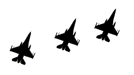 jets: Silhouettes of fighter jets flying in formation