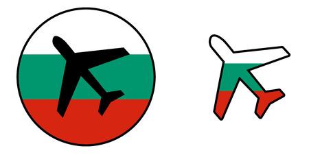 Nation flag - Airplane isolated on white - Bulgaria Stock Photo