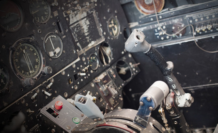 avionics: Center console and throttles in an old airplane Stock Photo