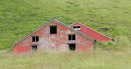 abandoned farmhouse abandoned farmhouse: Old abandoned farmhouse in the west of Iceland Stock Photo