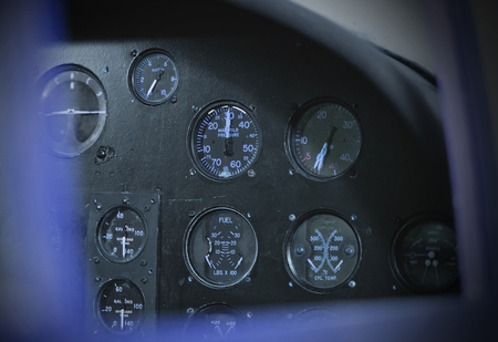 avionics: Different meters and displays in the console of an old plane Stock Photo