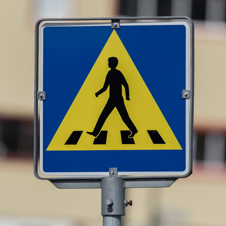 usaf: Vintage pedestrian transit traffic sign in Iceland (abandoned USAF air base) Stock Photo