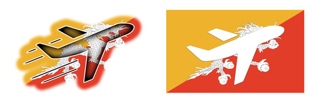 bhutan: Nation flag - Airplane isolated on white - Bhutan