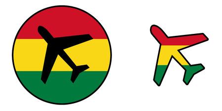 bandera de la nación - Avión aislado en blanco - Bolivia