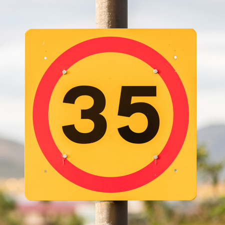 Icelandic traffic sign restricting speed to 35 kilometers per hour