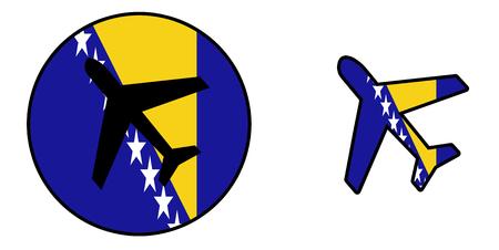 bosnia and herzegovina flag: Nation flag - Airplane isolated on white - Bosnia Herzegovina
