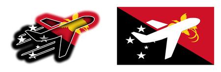 Nuova Guinea: Nation flag - Airplane isolated on white - Papua New Guinea Archivio Fotografico