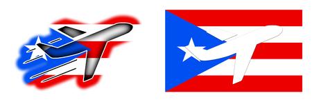 bandera de puerto rico: Nation flag - Airplane isolated on white - Puerto Rico