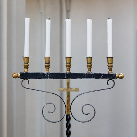 candleholder: Old candleholder with 5 candles - Church in Iceland Stock Photo