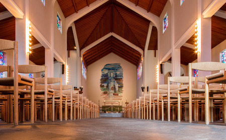 historic sites: SKALHOLT, ICELAND - JULY 25: Interior of the modern Skalholt cathedral. It was completed in 1963, is pictured on July 25, 2016 and is situated on one of Icelands most historic sites.