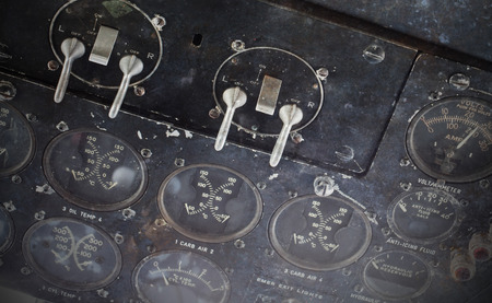 old plane: Different meters and displays in the console of an old plane Stock Photo