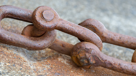 Old chain with rust, steel chain link fence Stock Photo