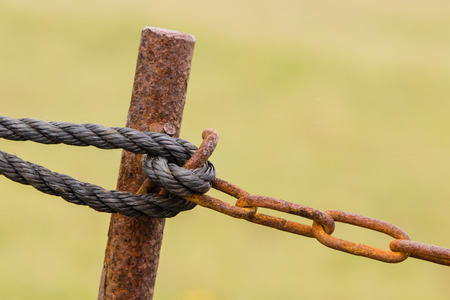 steel chain: Old chain with rust, steel chain link fence Stock Photo