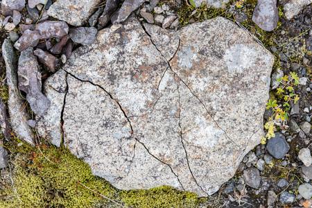 destructive: Frost leaves Destructive Patterns in a Stone, Iceland