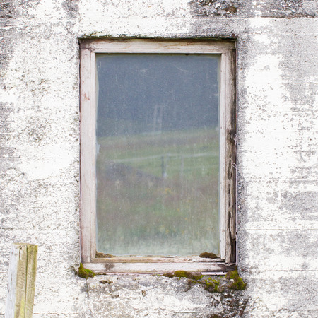 dirty: Old dirty window on old dirty wall