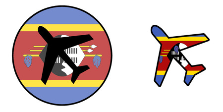Nation flag - Airplane isolated on white - Swaziland Stock Photo