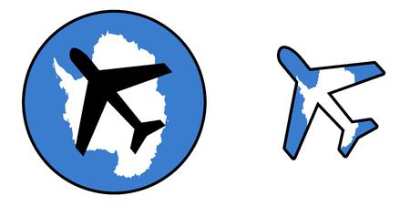 antarctica: Nation flag - Airplane isolated on white - Antarctica