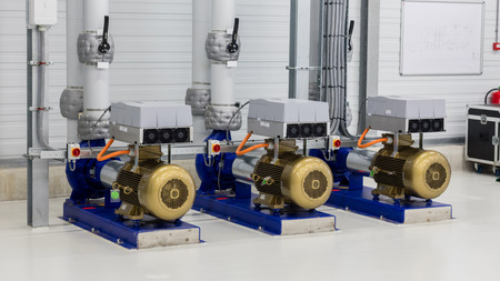 distributing: Electrical generator used for distributing water in a large area Stock Photo