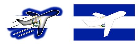 bandera de el salvador: bandera de la nación - Avión aislado en blanco - El Salvador Foto de archivo