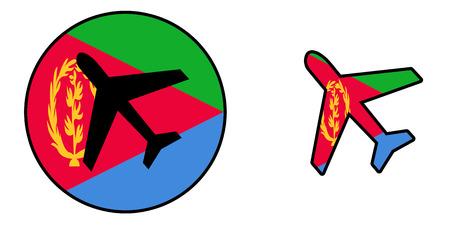 Nation flag - Airplane isolated on white - Eritrea