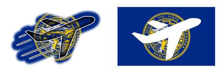 nebraska: Nation flag - Airplane isolated on white - Nebraska