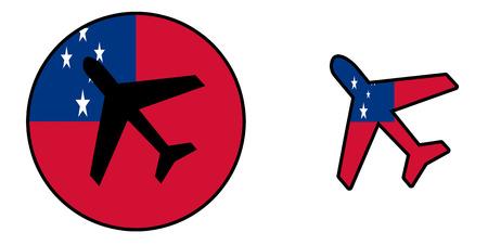 samoa: Nation flag - Airplane isolated on white - Samoa Stock Photo