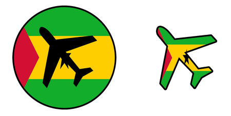 principe: bandera de la nación - Avión aislado en blanco - Santo Tomé y Príncipe