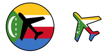 Nation flag - Airplane isolated on white - Comoros Stock Photo