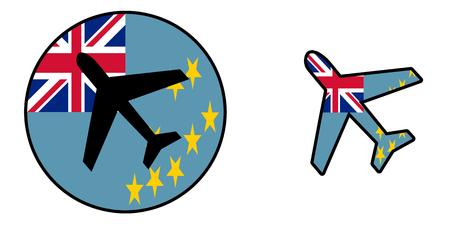 Nation flag - Airplane isolated on white - Tuvalu