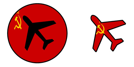 soviet flag: Nation flag - Airplane isolated on white - USSR