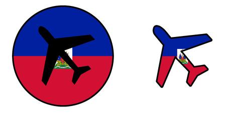 Nation flag - Airplane isolated on white - Haiti