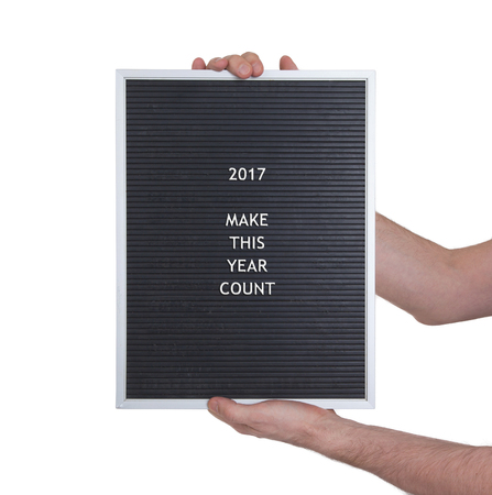 newyear: Very old black menu board - New year - 2017 Stock Photo