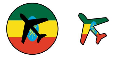 national flag ethiopia: Nation flag - Airplane isolated on white - Ethiopia Stock Photo