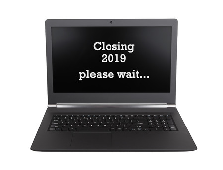 Modern laptop isolated on a white background - New Year - 2019 - 2020 Stock Photo